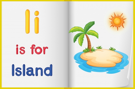 learning english: Illustration of an island in a book on a white background