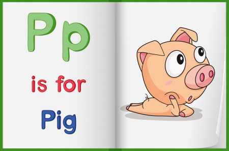Illustration of a pig in a book on a white background Vector