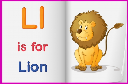 Illustration of a lion in a book on a white background Vector