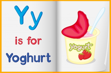 yoghurt: Illustration of a yoghurt in a book on a white background Illustration