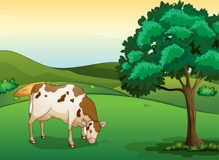 Illustration of a cow eating grass in a beautiful nature Vector