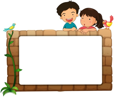from behind: Illustration of a white board, kids and birds on a white background