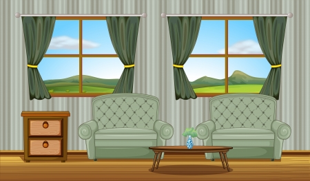 house: Illustration of a cushion chairs and side table in a room