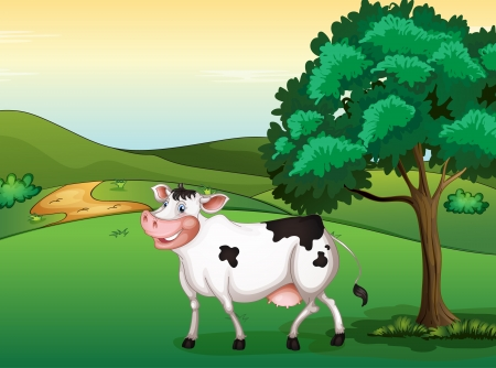 Illustration of a smiling cow in a beautiful nature Stock Vector - 17161784