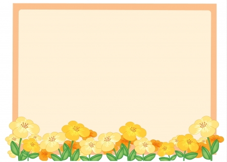 yellow daisy: Illustration of flowers and a light orange board on a white background Illustration