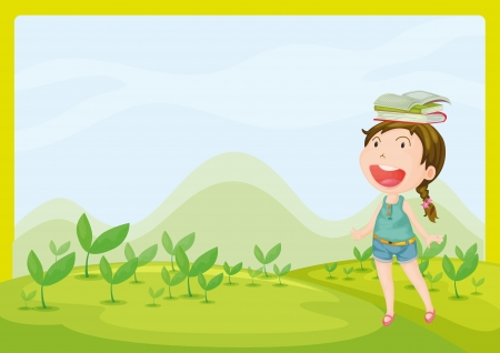 childrens book: Illustration of a smiling girl in a beautiful nature