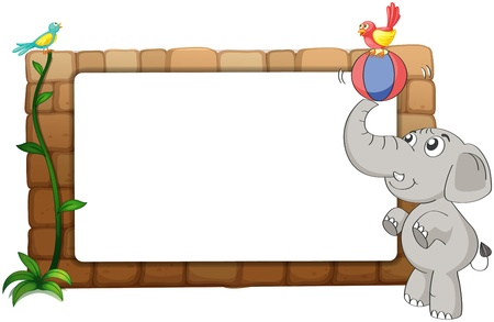 Illustration of a white board, an elephant and birds on a white background Vector