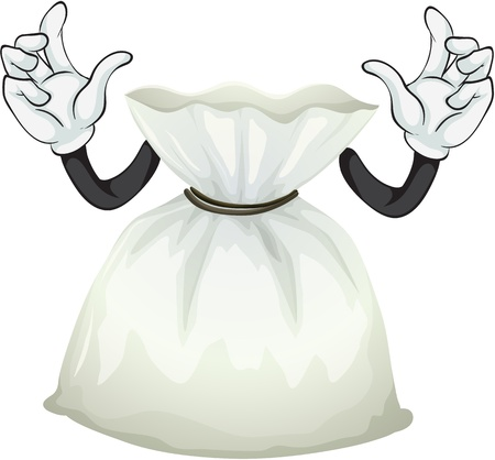 bag cartoon: Illustration of a pouch bag on a white background Illustration