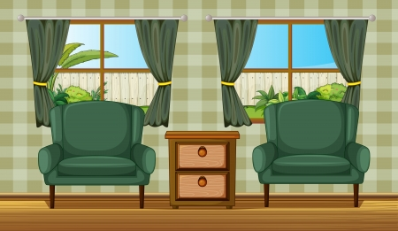 lawn furniture: Illustration of a cushion chairs and side table in a room