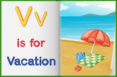 v alphabet: Illustration of a vacation in a book on a white background