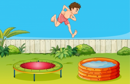 Illustration of a boy on a trampoline in a beautiful nature Vector