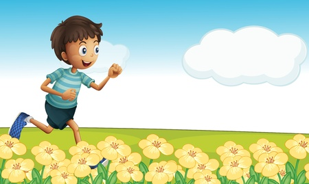 young boy smiling: Illustration of a boy running in a beautiful nature