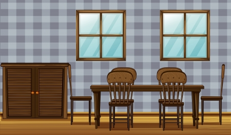Illustration of a dinning table and wardrobe in a room Stock Vector - 17161690