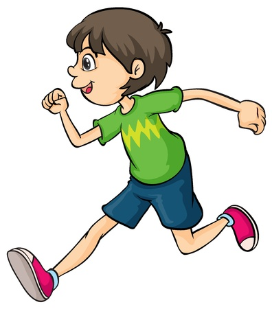 Illustration of a boy running on a white background Stock Vector - 17161067