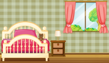 comfort room: Illustration of a bed and a lamp in a room Illustration
