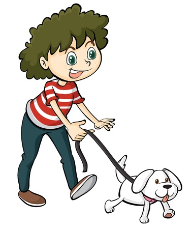 dog walk: Illustration of a smiling boy and a dog on a white background Illustration