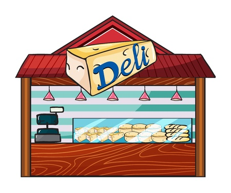 Illustration of a cheese store on a white background Stock Vector - 17161884