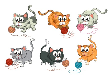 Illustration of cats playing with wool on a white background