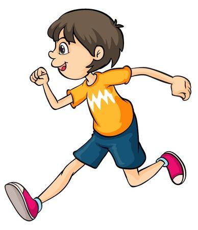 白い背景の上を走っている少年のイラスト