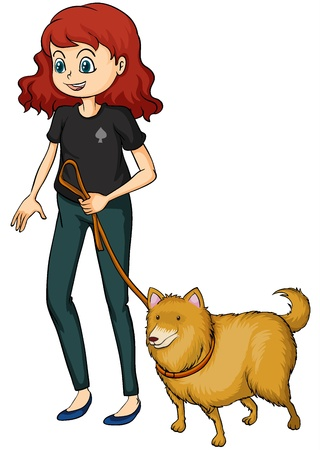 Illustration of a smiling girl and a dog on a white background Vector