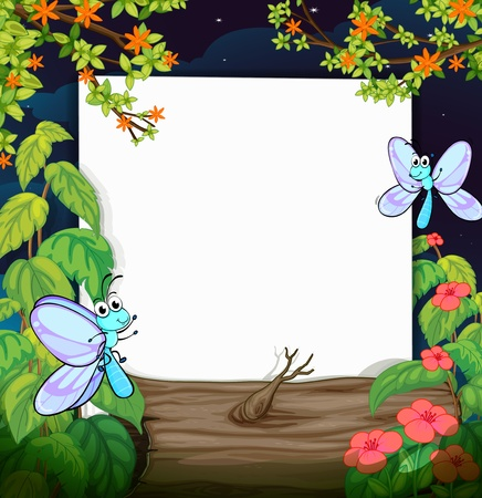 Illustration of flies and a white board in a beautiful dark night Vector