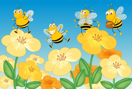 childrens food: Illustration of flying honey bees in beautiful nature