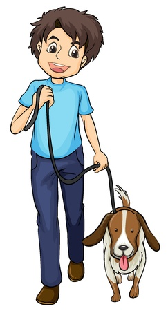 dog walking: Illustration of a smiling boy and a dog on a white background Illustration