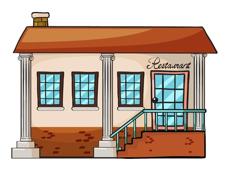 shop show window: Illustration of a restaurant on a white background Illustration