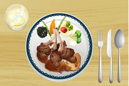 chutney: Illustration of a meat and salad in one dish on a wooden table Illustration