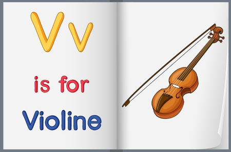 worksheet: Illustration of a picture of a violine in a book on a white background