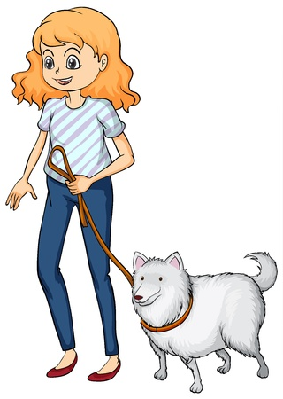 dog walk: Illustration of a smiling woman and a dog on a white background Illustration