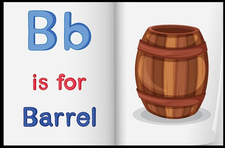 learning english: Illustration of a barrel in a book on a white background