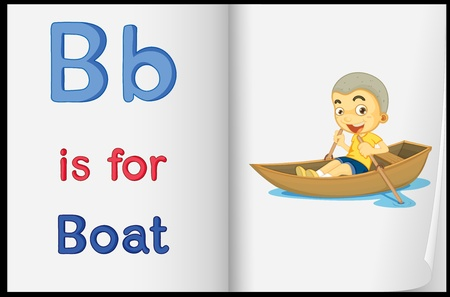Illustration of a boat in a book on a white background Vector