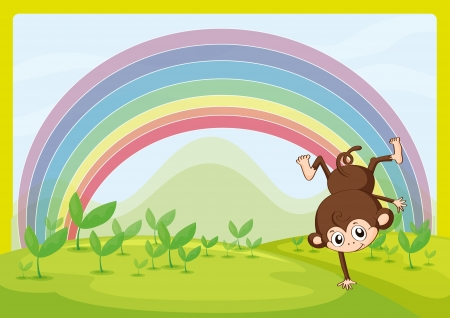 bush babies: Illustration of a dancing monkey and a rainbow in a beautiful nature Illustration