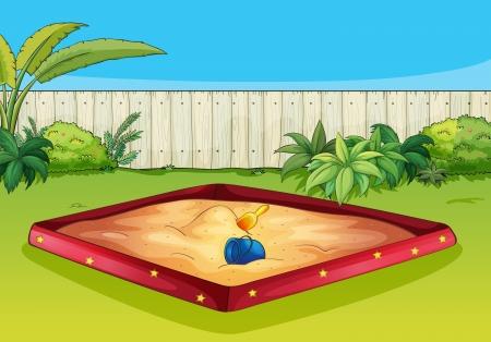 sandpit: Ilustraci�n de una caja de arena en un hermoso jard�n