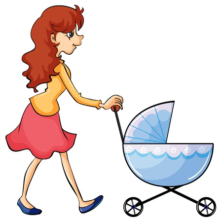 Illustration of a woman and baby buggy on a white background Vector