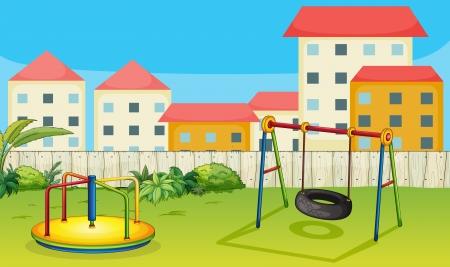 materiali edili: Illustrazione di un merry-go-round e uno swing in una natura bellissima