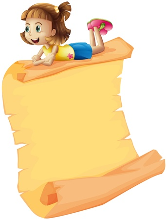 Illustration of a smiling girl and a scroll on a white background Vector