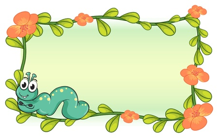 cartoon larva: Illustration of a caterpillar and a flower plant frame on a white background Illustration