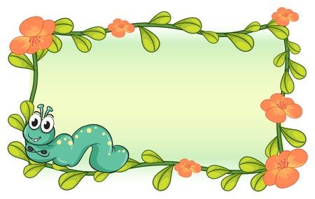 oruga: Ilustración de una oruga y un marco de planta de flor sobre un fondo blanco