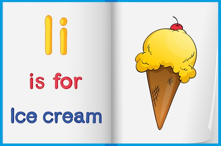 learning english: Illustration of ice cream in a book on a white background