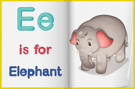 english language: Illustration of an elephant in a book on a white background Illustration