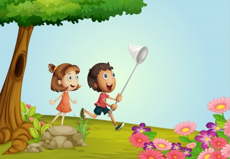Illustration of smiling kids in a beautiful nature Vector