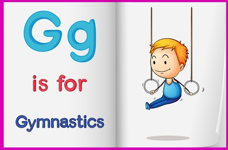 Illustration of gymnastics in a book on a white background Vector