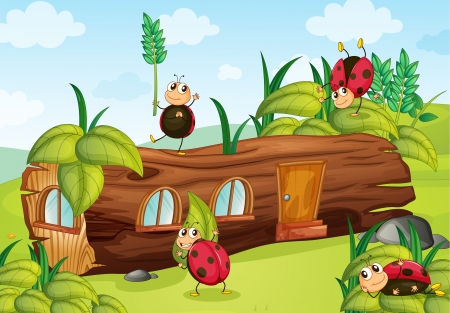 Illustration of ladybugs and a wood house in a beautiful nature Vector