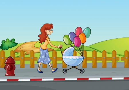 Illustration of a woman and baby buggy in a beautiful nature Vector