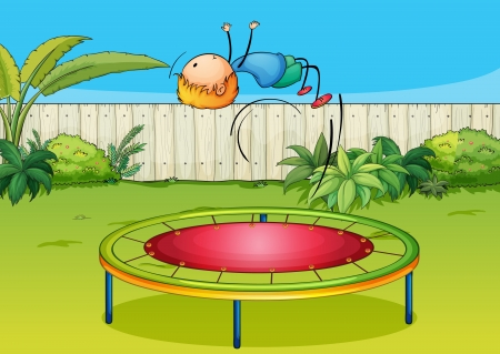 Illustration of a boy jumping on a trampoline in a beautiful garden Vector