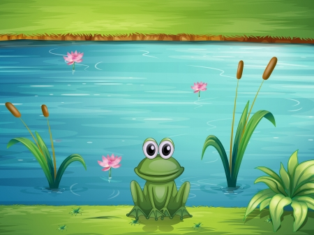 Illustration of a river and a frog in a beautiful landscape Vectores