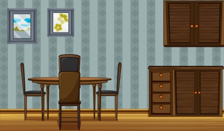 Illustration of a dinning table and a wardrobe in a room Vector