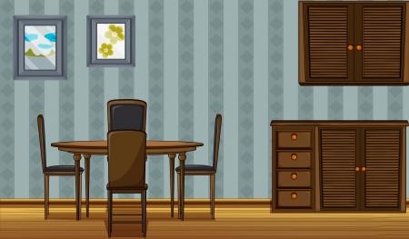 pavimento lucido: Illustrazione di un tavolo da pranzo e un armadio in una stanza Vettoriali